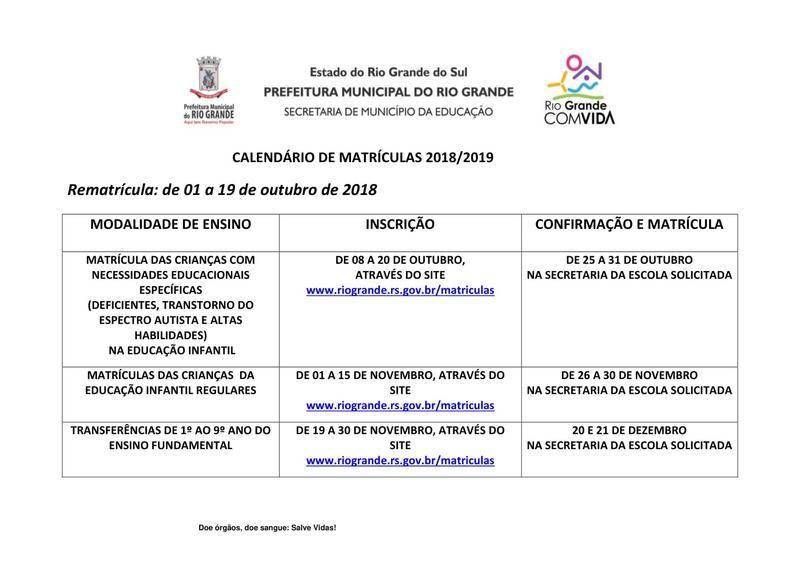 Calendario 2019 Rio Grande Do Sul.Matriculas 2018 2019 Smed Secretaria De Municipio Da
